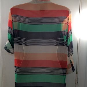 Poetry Tops - Poetry Striped Chiffon Top Sz XL